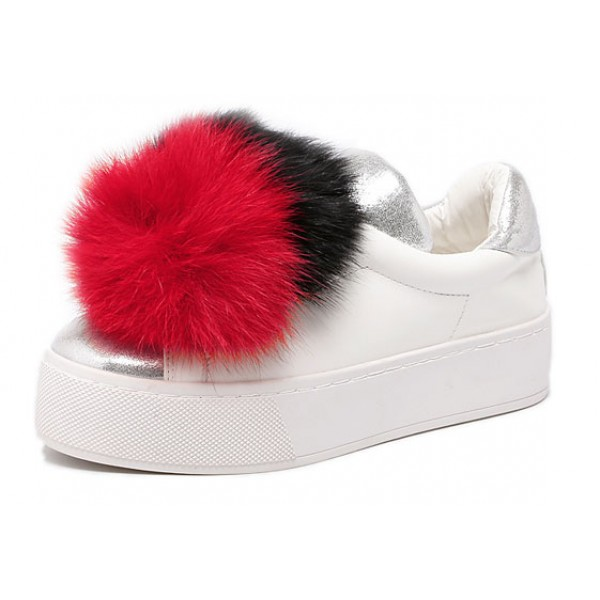 White Red Rabbit Fur Giant Pom Cute Sneakers Loafers Flats Shoes