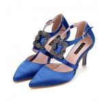 Blue White Blue Satin Rhinestione Buckle Point Head Evening Gown High Heels Shoes
