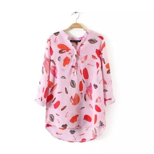 Pink Red Sexy Lips Pattern Chiffon Mid Long Sleeves Blouse Shirt