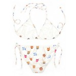 White Whatsapp Emoji Two Piece Sexy Bikini Swimwear