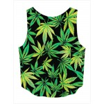 Green Hemp Leaves Cropped Sleeveless T Shirt Cami Tank Top