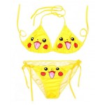 Yellow Pokemon Cartoon Two Piece Sexy BIkini Swimwear