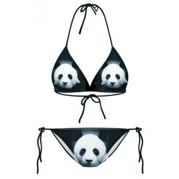 Black Giant Panda Two Piece Sexy BIkini Swimwear