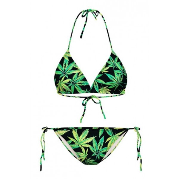 Black Green Hemp Leaves Two Piece Sexy BIkini Swimwear