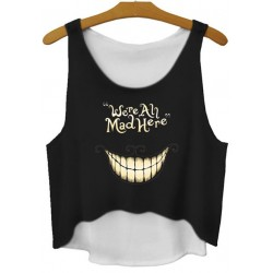 Black We All Mad Here Cropped Sleeveless T Shirt Cami Tank Top