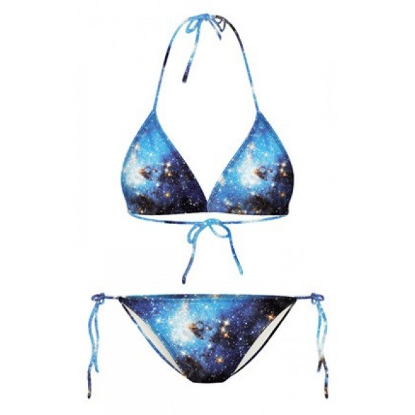 Blue Galaxy Universe Stars Two Piece Sexy Bikini Swimwear