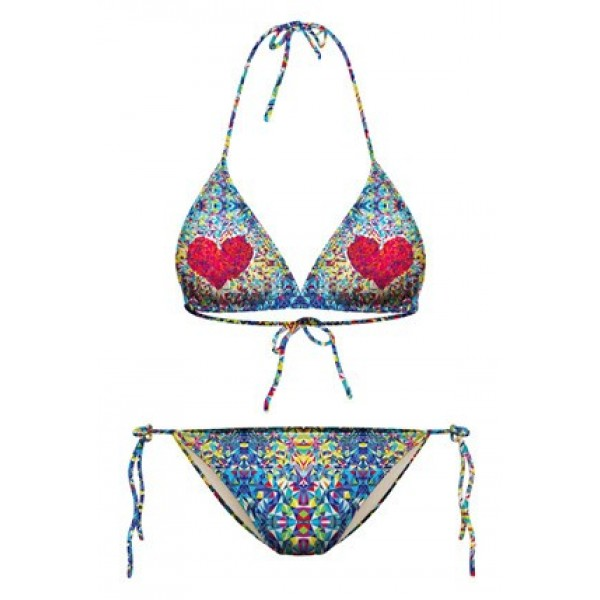 Blue Red Hearts Two Piece Sexy Bikini Swimwear