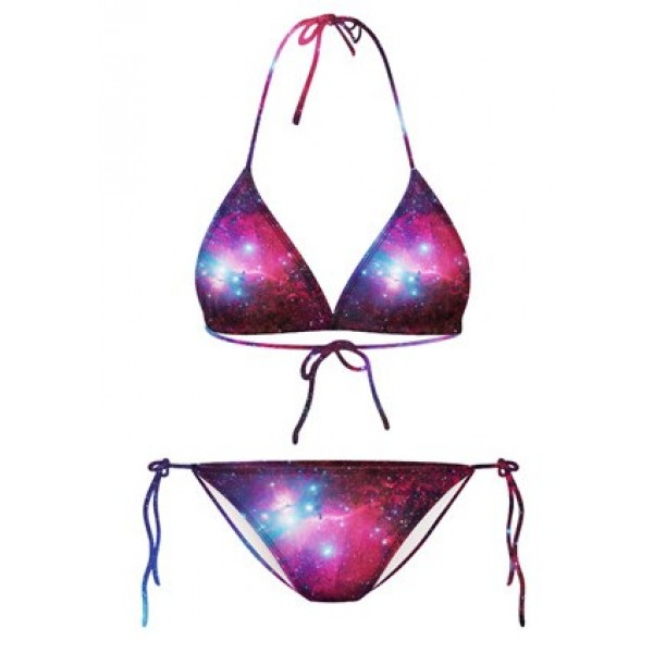 Purple Blue Galaxy Universe Stars Two Piece Sexy Bikini Swimwear