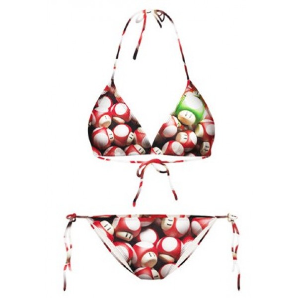 Red Mario Mushrooms Cartoon Two Piece Sexy BIkini Swimwear