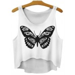 White Black Butterfly Vintage Cropped Sleeveless T Shirt Cami Tank Top