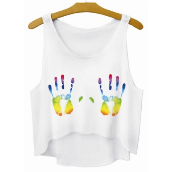 White Colorful Hand Prints Cropped Sleeveless T Shirt Cami Tank Top