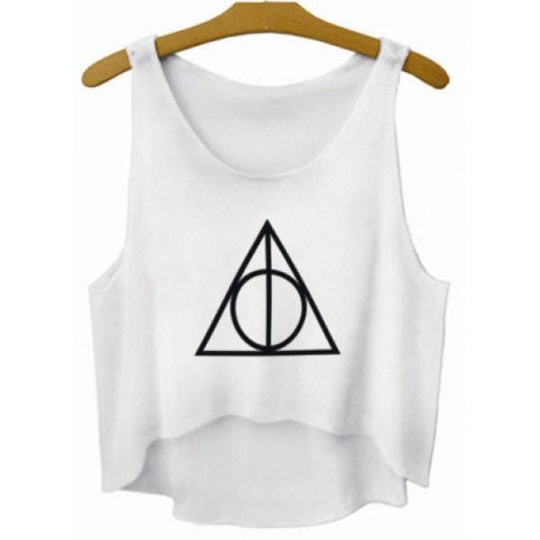 White Deathly Hallows Symbol Cropped Sleeveless T Shirt Cami Tank Top