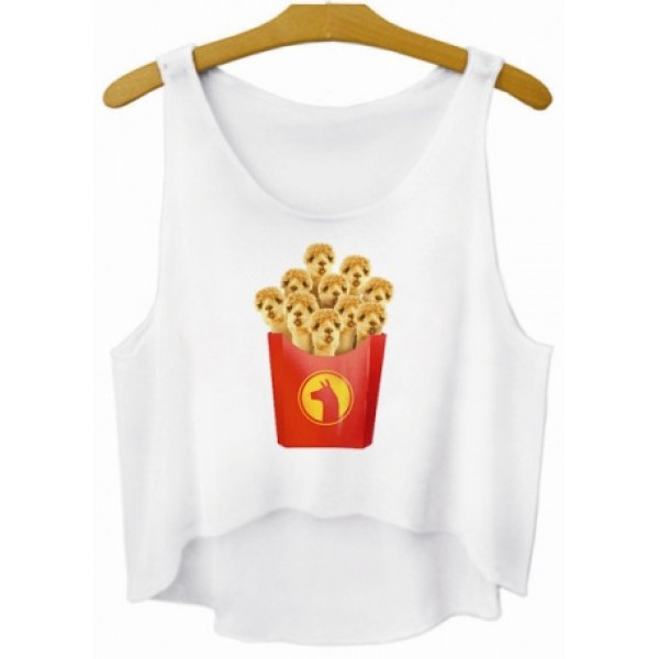 White Dogs Puppies French Fries Cropped Sleeveless T Shirt Cami Tank Top