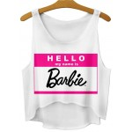 White hello My Name is Barbie Cropped Sleeveless T Shirt Cami Tank Top