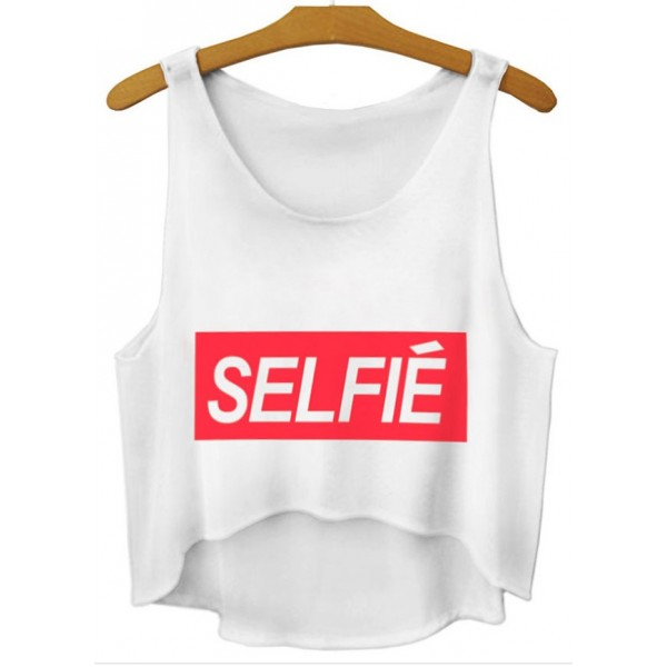White Red Selfie Cropped Sleeveless T Shirt Cami Tank Top