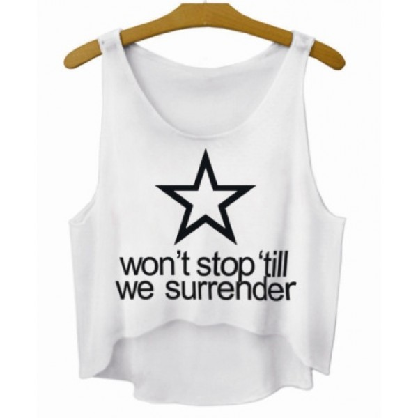 White Star Wont Stop Till We Surrender Cropped Sleeveless T Shirt Cami Tank Top