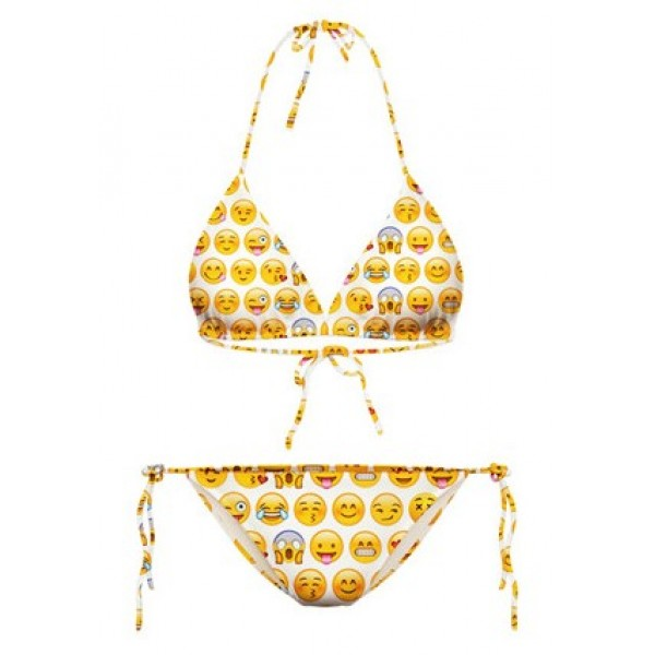 White Whatsapp Emoji Cartoon Two Piece Sexy BIkini Swimwear