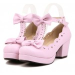 Pink T Strap Bow Mary Jane Round Head Lolita Platforms Mid Heels Shoes
