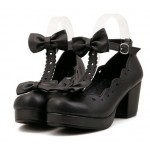 Black T Strap Bow Mary Jane Round Head Lolita Platforms Mid Heels Shoes