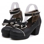 Black White Bow Mary Jane Round Head Lolita Platforms Mid Heels Shoes