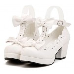 White T Strap Bow Mary Jane Round Head Lolita Platforms Mid Heels Shoes