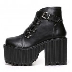 Black Zig Zag Straps Platforms Punk Rock Chunky Heels Boots Creepers Shoes