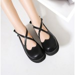 Black Cross Straps Heart Mary Jane Round Head Lolita Platforms Creepers Shoes