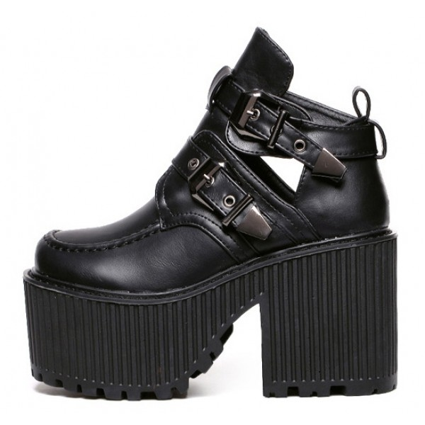 Black Double Buckles Platforms Punk Rock Chunky Heels Boots Creepers Shoes