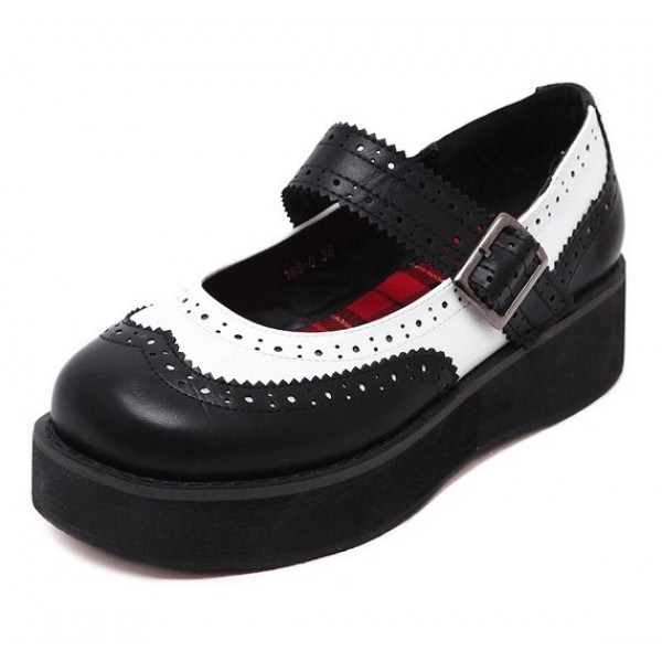 Black White Mary Jane Round Head Lolita Platforms Creepers Shoes