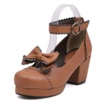 Brown Bow Mary Jane Round Head Lolita Platforms Mid Heels Shoes