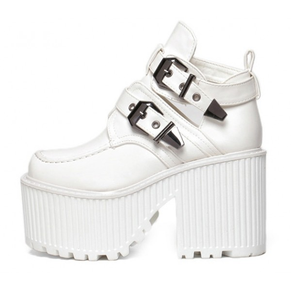 White Double Buckles Platforms Punk Rock Chunky Heels Boots Creepers Shoes