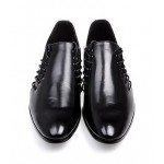 Black Leather Double Lace Up Mens Oxfords Loafers Dress Shoes Flats
