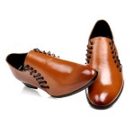 Brown Vintage Leather Double Lace Up Mens Oxfords Loafers Dress Shoes Flats