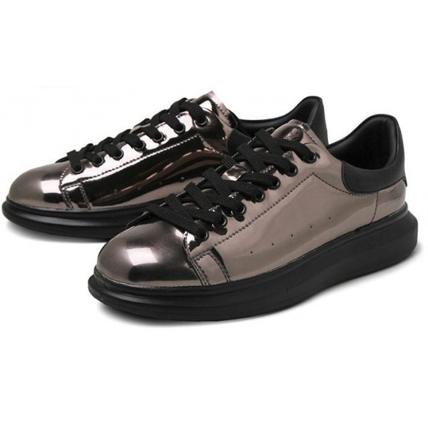 Grey Metallic Mirror Shiny Leather Punk Rock Lace Up Shoes Womens Sneakers