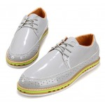 Grey Glossy Patent Leather Lace Up Mens Classy Oxfords Dresss Shoes
