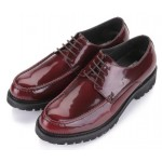 Burgundy Patent Leather Lace Up Platforms Mens Oxfords Dress Shoes