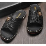 Black Straw Knitted Studs Gold Medusa Cross Straps Mens Gladiator Roman Sandals