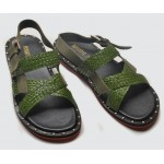 Green Straw Knitted Metal Studs Cross Straps Mens Gladiator Roman Sandals
