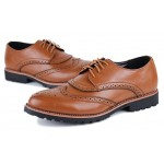 Brown Vintage Leather Lace Up Baroque Mens Oxfords Dress Shoes