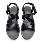Black Straps Camouflage Sole Slingback Mens Roman Gladiator Sandals