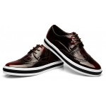 Burgundy Vintage Patent Leather Lace Up Baroque Mens Oxfords Dress Shoes Sneakers