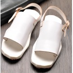White Irregular Sole Sling Back Platforms Mens Gladiator Roman Sandals