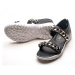 Black Silver Metal Chain Punk Rock Mens Roman Sneakers Gladiator Sandals