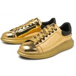 Gold Metallic Mirror Shiny Leather Punk Rock Lace Up Shoes Mens Sneakers