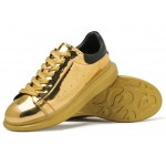 Gold Metallic Mirror Shiny Leather Punk Rock Lace Up Shoes Womens Sneakers