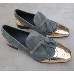 Grey Metal Cap Suede Leather Mens Blunt Head Tassels Mens Loafers Dress Shoes