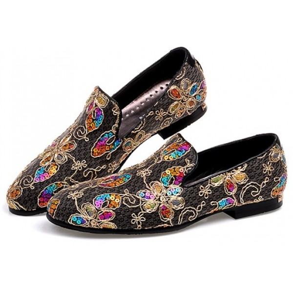 Black Colorful Sequins Mens Oxfords Loafers Dress Shoes Flats