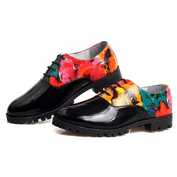 Black Patent Leather Colorful Painting Lace Up Mens Oxfords Dress Shoes