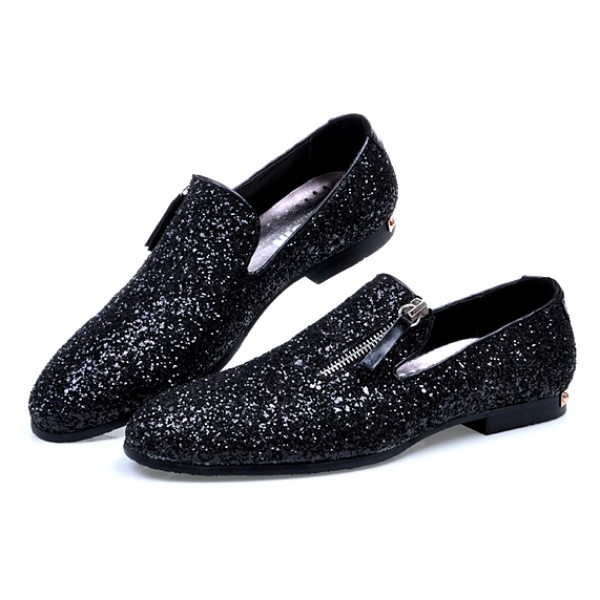 Black Sequins Glitter Bling Bling Mens Oxfords Loafers Dress Shoes Flats