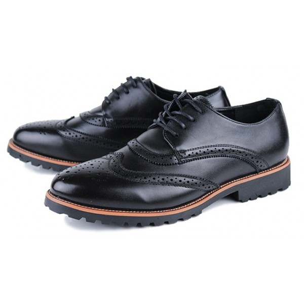 Black Vintage Leather Lace Up Baroque Mens Oxfords Dress Shoes
